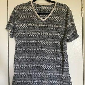Grey and White Geometric T-Shirt